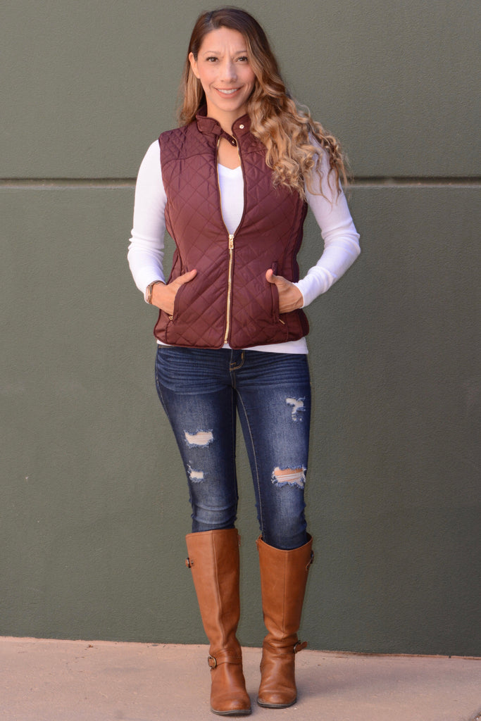 Burgundy Diamond Quilted Vest