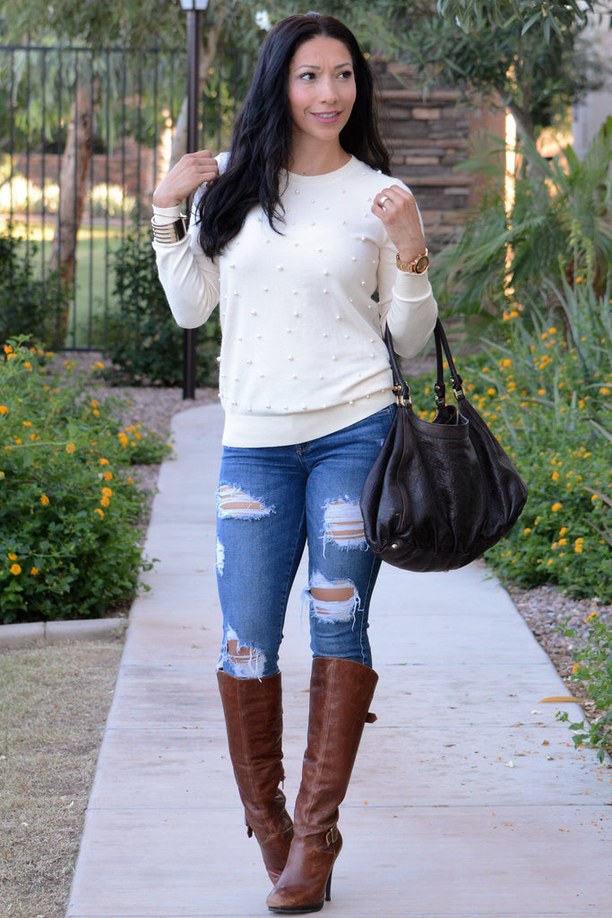 Pretty In Pearls Sweater - Cream
