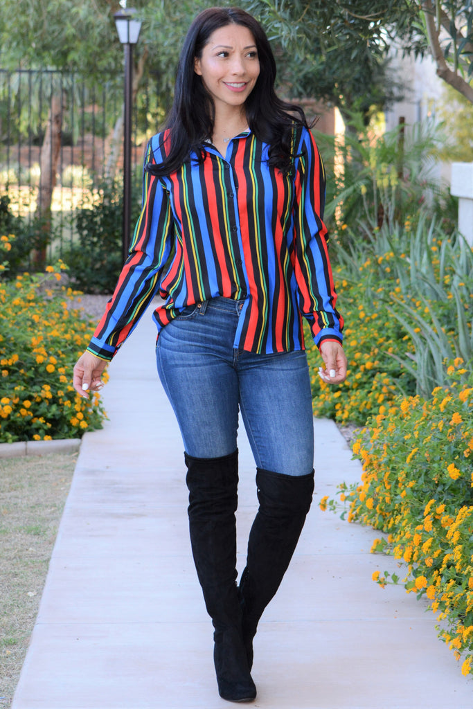 Own The Night Blouse - Colorful