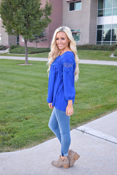 Blue Crotchet Long Sleeve Tunic