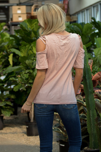 Criss Cross Cold Shoulder Top - Pink