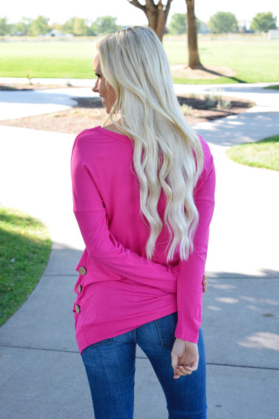 Pink Triple Button Long Sleeve