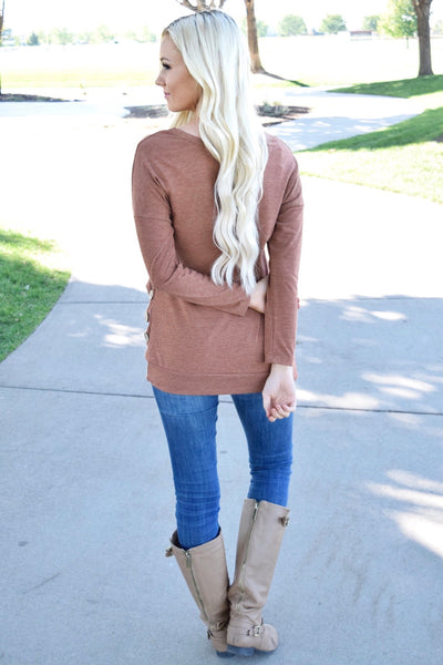 Rust Triple Button Long Sleeve