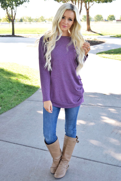 Plum Triple Button Long Sleeve