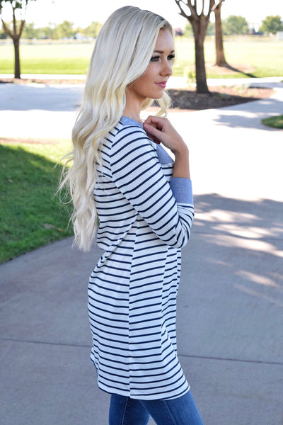 Navy Pin Striped Cuffed Tunic