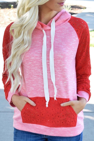 Lace Accent Kangaroo Hoodie