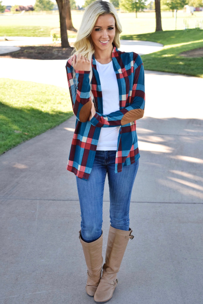 Teal Plaid Suede Patch Cardigan