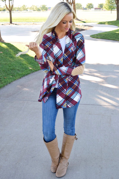 Plaid Suede Patch Cardigan - Burgundy