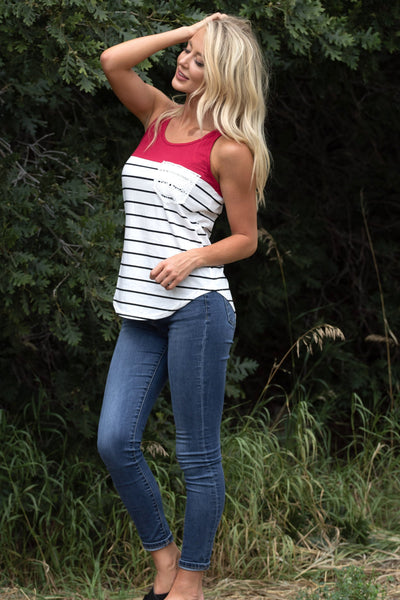 Fun Striped Pocket Tank - Red
