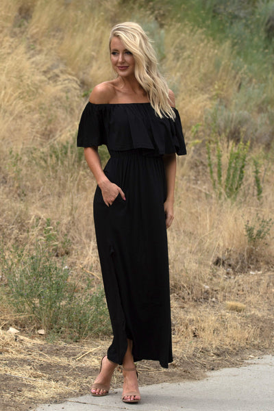 Dreamy Off The Shoulder Maxi - Black