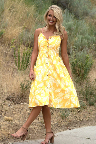 Flirty Fit and Flare Midi - Yellow
