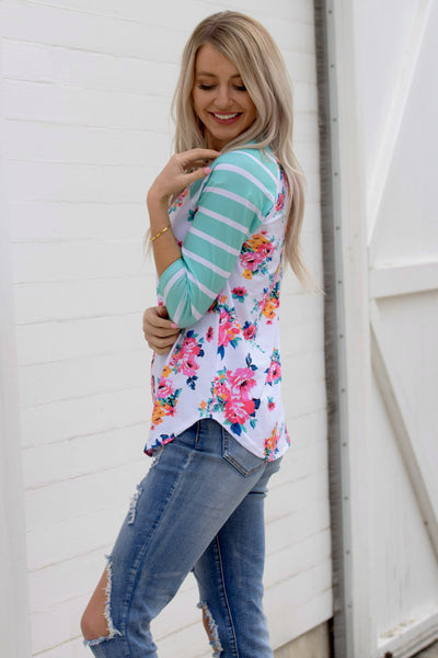 Raglan Striped Floral Top - Green