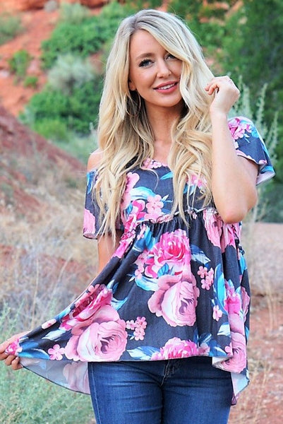 In Full Bloom Babydoll - Charcoal