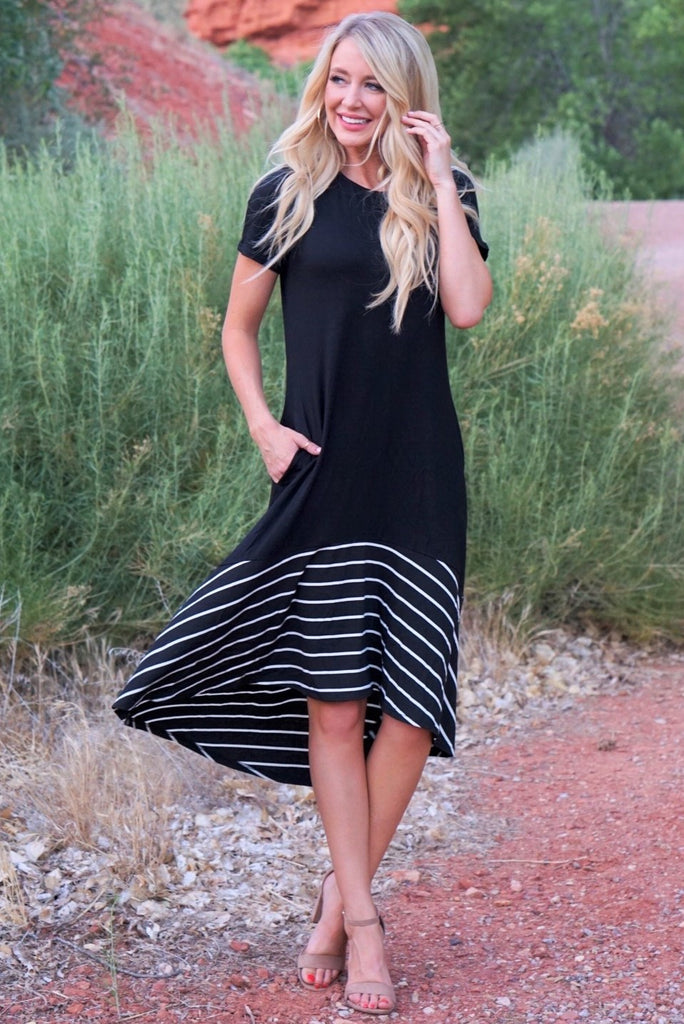 Oh Yes Stripes Dress - Black