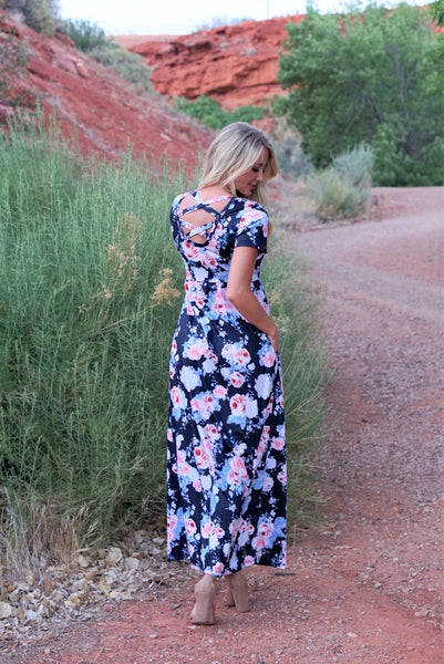 Cross Back Floral Maxi - Navy
