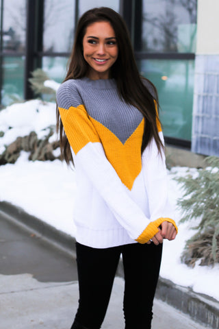 Loving The Chevron Sweater - Yellow