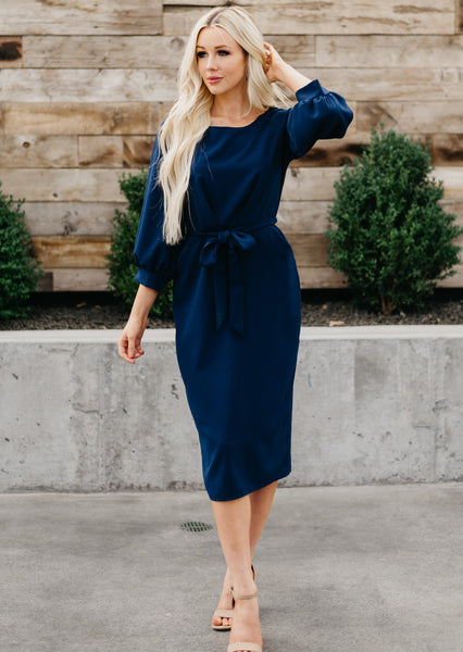 Puff Sleeve Pencil Dress - Navy