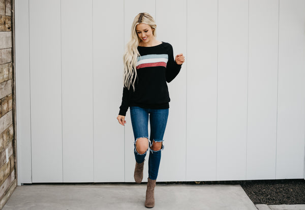 Fun Stripe Sweatshirt - Black