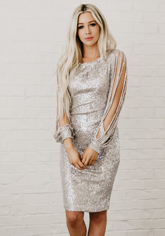 Perfect Date Night Dress - Silver