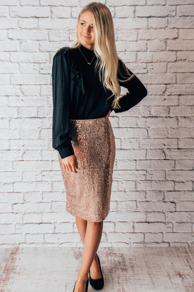 Make Me Sparkle Midi Skirt - Rose Gold