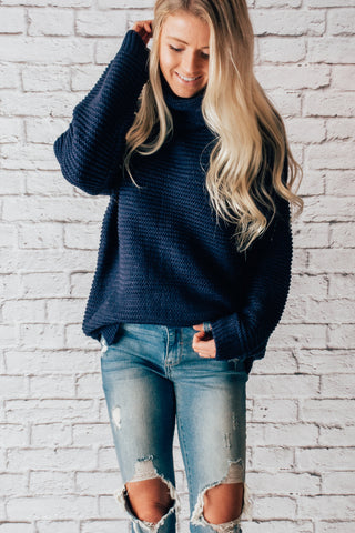 Cozy Long Sleeve Turtleneck - Navy