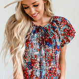 Flutter Sleeve Detail Blouse - Red/Blue
