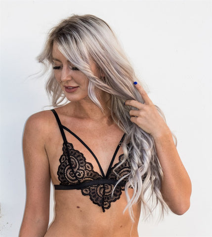Lace Trim Strappy Bralette
