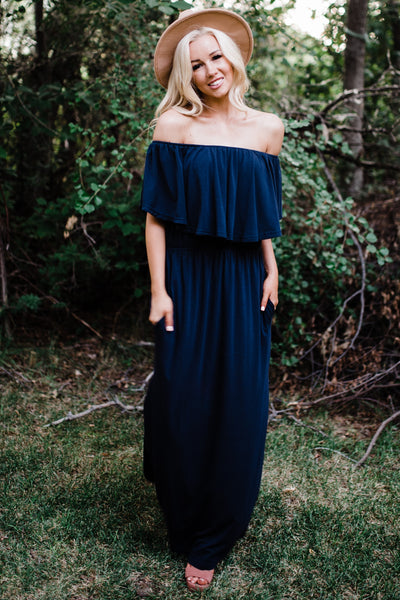 Dreamy Off The Shoulder Maxi - Navy