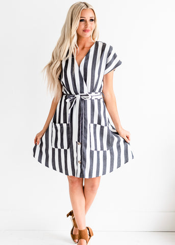 Mckenley Striped Dress - Black