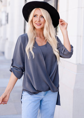 Manhattan Drape Front Layered Blouse - Gray
