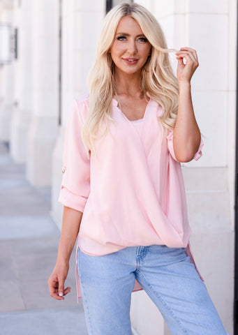Manhattan Drape Front Layered Blouse - Pink