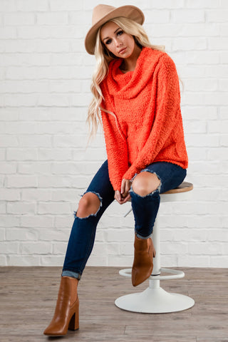 Off The Shoulder Comfy Sweater - Orange