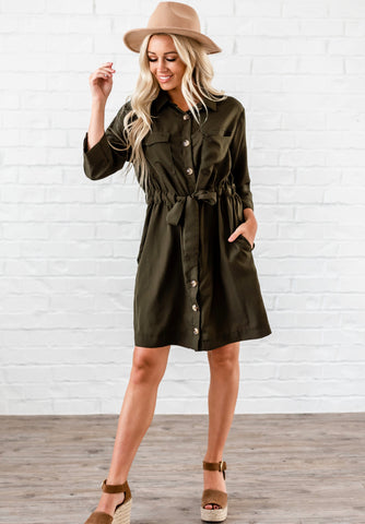 Pocketed Drawstring Shift Dress - Green