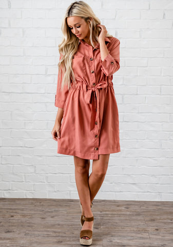 Pocketed Drawstring Shift Dress - Pink