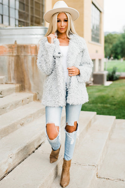 Amie Faux Fur Coat - Light Grey