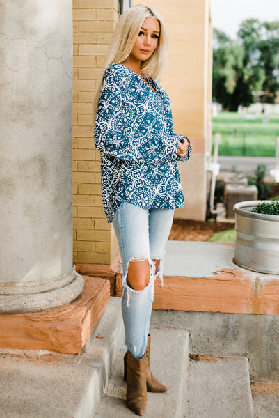 Autumn Long Sleeve Blouse - Teal