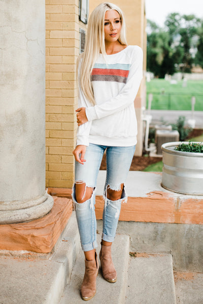 Fun Stripe Sweatshirt - Light Grey