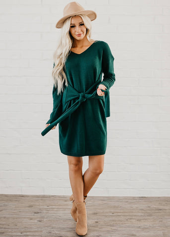 Maddison Front Tie Dress - Green