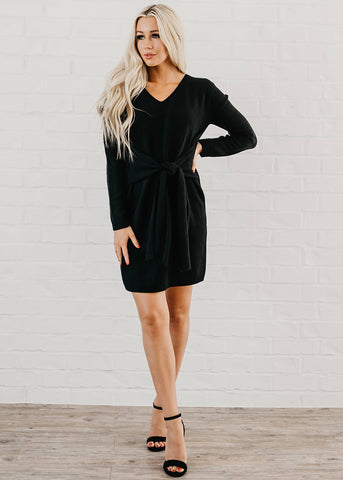 Maddison Front Tie Dress - Black