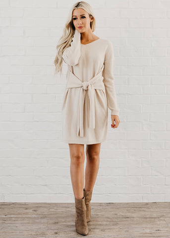 Maddison Front Tie Dress - Beige