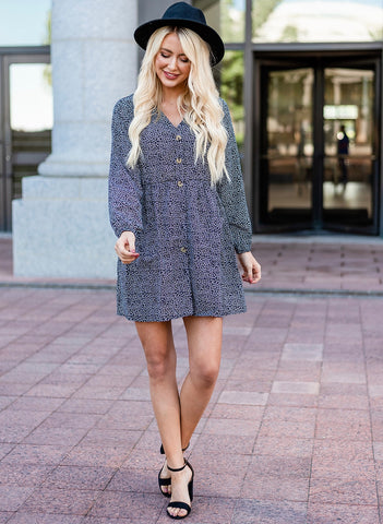 Maddie Long Sleeve Dress - Black