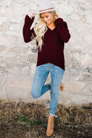 Canyon Ribbed Sweater - Burgundy