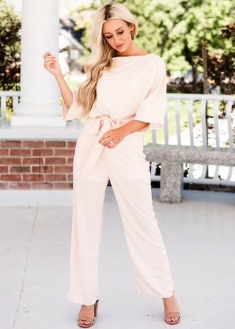 Date Night Jumpsuit - Cream