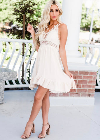 Crochet Lace Ruffle Dress - Beige