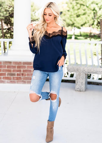 Tracy Lace Cold Shoulder Blouse - Blue