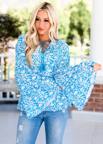Voyage Bell Sleeve Top - Blue
