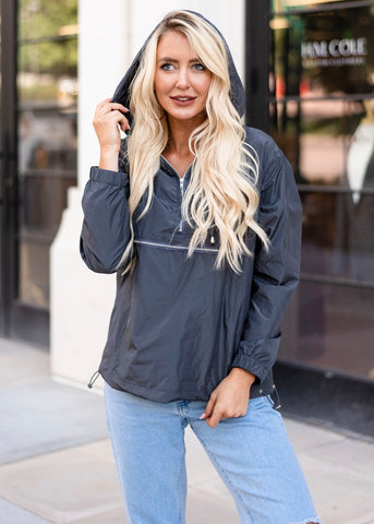 Kelsie Windbreaker - Charcoal Gray