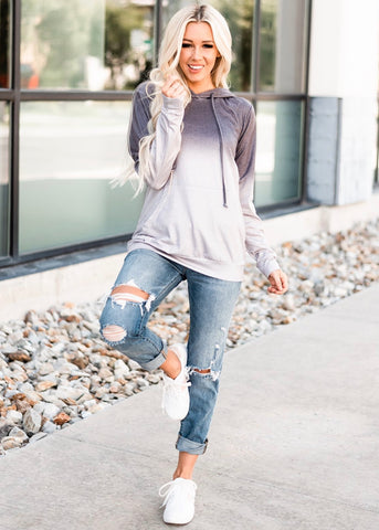 Ombre Drawstring Hoodie - Gray
