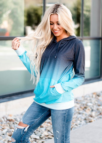 Ombre Drawstring Hoodie - Teal Blue