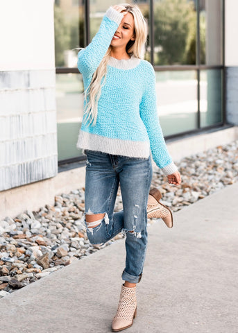 Cozy Popcorn Sweater - Blue